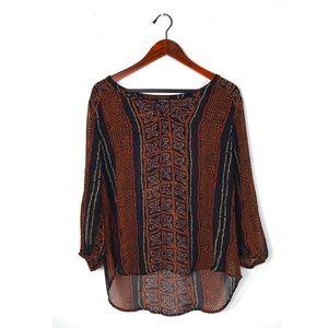 Lucky brand XL blouse long sleeve sheer paisley